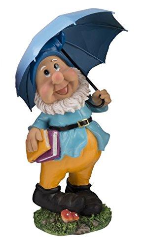 Geschenkestadl Großer Gartenzwerg mit blauem Schirm und Mütze 38,5 cm Bunte Zwerg Figur für Haus und Garten Gnom Schirm Blau