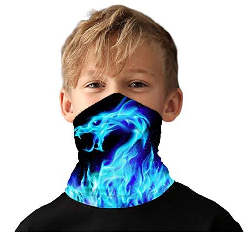Funnycokid Jungen Halstücher Gesichtsschal Multifunktionale Bandanas 3D-Druck Grafik Halsmanschette Radfahren Sturmhaube Staub Sonnenschutz