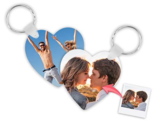 Getsingular Llaveros Personalizados plástico con Foto | Máxima Calidad de impresión a 2 Caras | Regalo Original para cumpleaños, San Valentín y Navidades | Camiseta - 25 uds