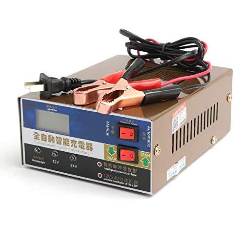 IJEOKDHDUW Coche de automóviles 12V / 24V 100AH Cargador de batería Reparación de Pulso Inteligente Inteligente