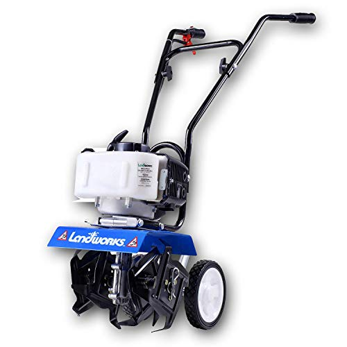 Find Bargain Landworks Mini Tiller Cultivator Super Duty 3HP 52cc 2 Stroke Gas Motor 4 Premium Steel Adjustable Forward Rotating Tines for Garden & Lawn, Digging, Weed Removal & Soil Cultivation EPA/CARB Certified