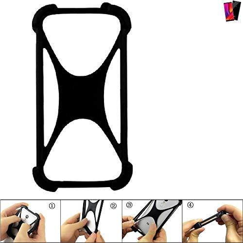 K-S-Trade® Handyhülle Für Oukitel Mix 2 Schutz Hülle Silikon Bumper Cover Hülle Silikoncase TPU Softcase Schutzhülle Smartphone Stoßschutz, Schwarz (1x),