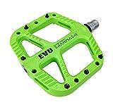 FRONTSTEP Pedales de Bicicleta de Fibra de Nylon Extra Anchos para Bicicleta de Montaña MTB Bicicleta de Carretera con Eje CR-Mo Pedal Antideslizante de Alta Resistencia (Verde)