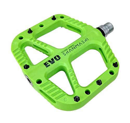 FrontStep Pedali per Bicicletta in Carbonio Ultraleggero Mountain Bike/MTB/Bici da Strada/Bici da Trekking con Perno in Acciaio CR-Mo 1 DU e1 Cuscinetto sigillato Antiscivolo(Verde)