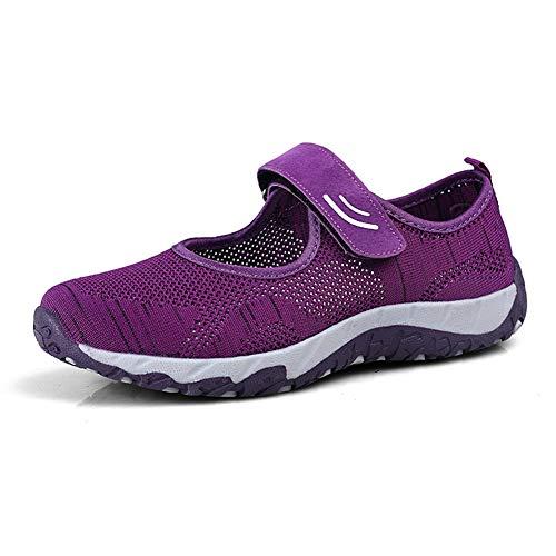 [Kanouhope] 安全靴レディース ナースシューズ 婦人靴 ママシューズ お年寄りシューズ 上履き 上靴 大人 介護靴 介護 シューズ 中高齢者靴 普段履き レディーススニーカー 22.5 パープル 紫35