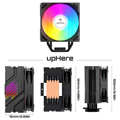 upHere CPU Kühler mit 5 Heatpipes, 120mm PWM Regenbogen LED Lüfter,Prozessorlüfter für Intel und AMD CPUs, N1055CF