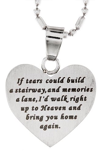 R.H. Jewelry Stainless Steel Sentiment Pendant Necklace, Memorial Heart Pendant Necklace