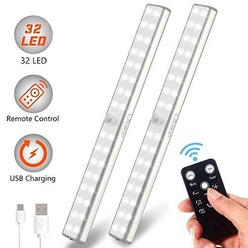 Litake LED Schrankbeleuchtung,32 LED USB Wiederaufladbar Fernbedienung Kabellos Unterbeleuchtung,Nachtlicht für Küche Wandschrank Kabinett Kleiderschrank, 2 Pack