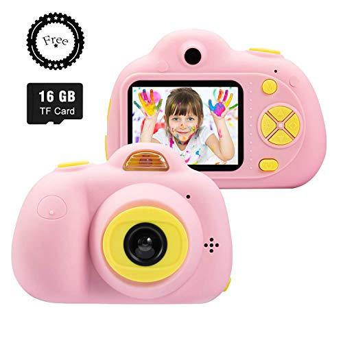 SeeKool Cámara Digital para niños,2 Objetivos Selfie 18 Millones de Pixels Cámara Digital 1080P HD Video, Zoom Digital 4X, Flash Lights, 2' LCD, Batería Recargable con 16GB Tarjeta de Memoria (Rosa)