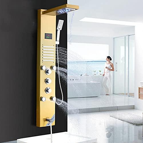 TVTIUO LED Panel de Ducha dorado con Pantalla LCD Columna Ducha Acero Inoxidable para...