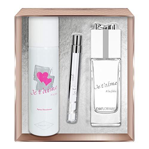 EVAFLORPARIS Je T'Aime A La Folie Coffret pour Femme Eau de Parfum 100 ml + Déodorant 150 ml + Vapo de Sac 12 ml 1 Unité