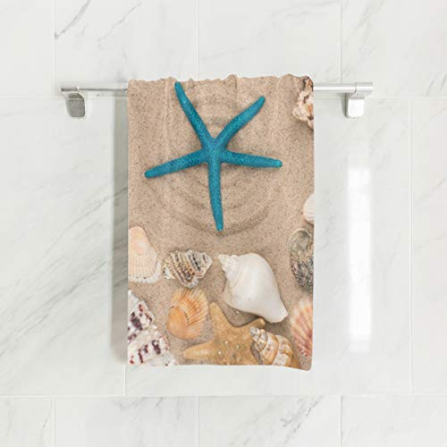 WIHVE Hand Towels, 30' x 15', Starfish Seashells Stars Multipurpose Towels Extra Absorbent for Bath,Hand, Face, Gym and Spa