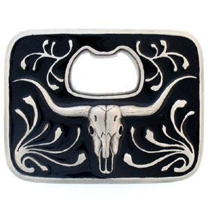 Happy Star® Metal Buffalo de calavera hebilla de cinturón abridor de botella de cerveza
