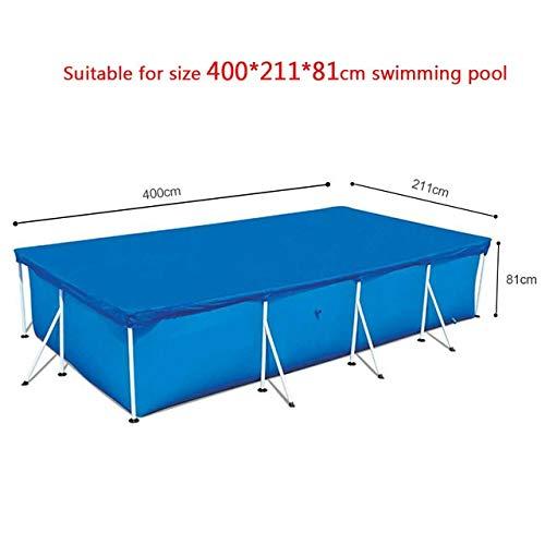 MDYHJDHYQ Large Size Pool Runde Bodentuch Lippen Abdeckung Staubdichtes Bodentuch Matte Abdeckung for Outdoor-Garten-Wasser-Pool (Color : Blau, Size : 400x211x81cm)