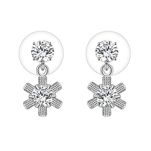 Pendientes de aguja de plata 925 con cristales de oro rosa y circonita cúbica con forma de sol, para mujeres y niñas, joyería de boda