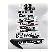 カークロームレターバッジエンブレムステッカー、メルセデスベンツAMGw207 W211 W212 W213 E43 E53 E63 E63s V8 BITURBO 4 MATIC +フェンダートランクエンブレムバッジ用