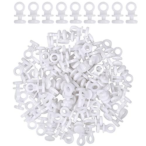 100pcs Ganchos de Cortina de Plástico Blanco, Gancho para Cortina para cortina de ventana, cortina de puerta y cortina de ducha, 9 mm