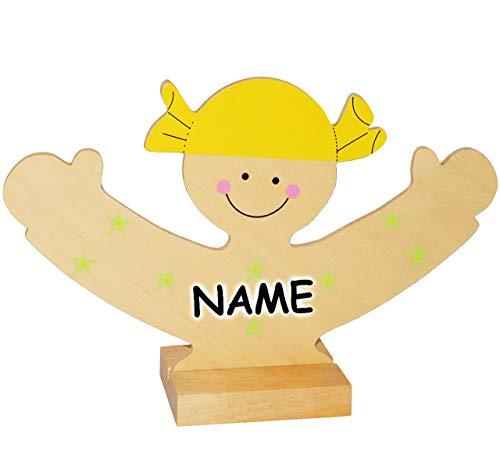 alles-meine.de GmbH Schmuckbaum / Schmuckständer - aus Holz -  lachendes Mädchen  - incl. Name - für Ketten + Armbänder + Uhren - zum Hinstellen - Tischausteller - Deko für Kin..