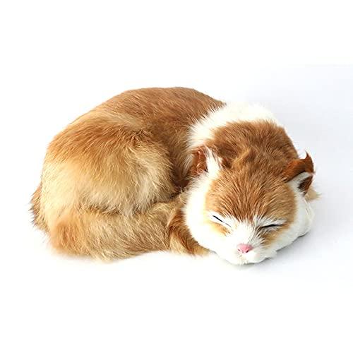 YFAX Gato Durmiente, Juguete Suave, Gato de Pelo Corto Blanco y Negro, Gato de simulación de Felpa sintética, Accesorio de fotografía Gato Durmiente Realista