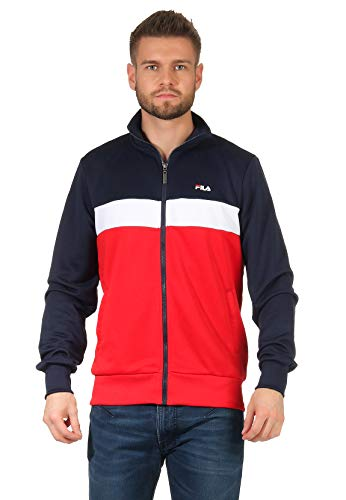 FILA Trainingsjacke Herren Sanga Track Jacket 687476 Mehrfarbig G06 Black Iris-True Red-Bright White, Größe:XL