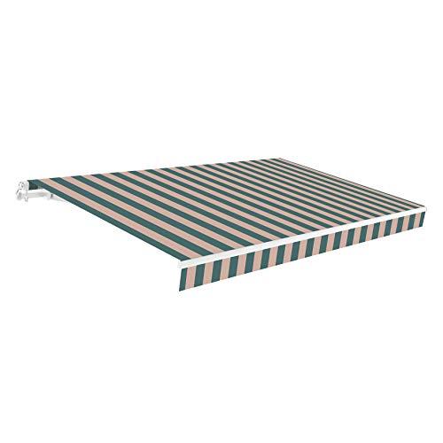 SmartSun Classic Toldo Completo 4x2,5m Color Verde Tostado Lona poliéster. Estructura de Aluminio. Regulable en inclinación. Manivela incluida. Toldo terraza, Jardin, Balcon