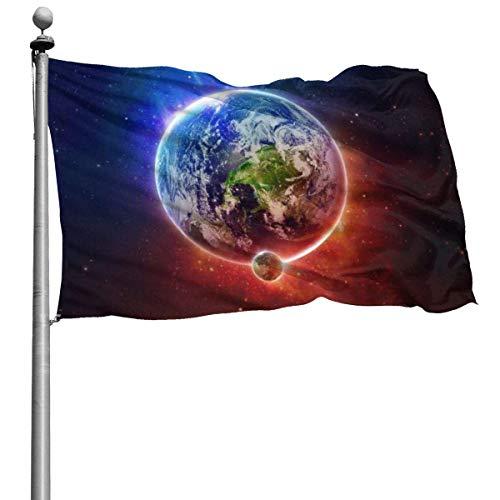 N/A Saisonale Gartenflaggen für den Außenbereich, Feuer und EIS Planet Yard Flags | Langlebig, Polyester, 4X6 Ft