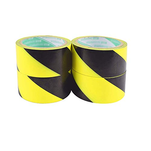 4 Pcs Cinta de Seguridad Amarilla/Negra Se Utiliza para Identificar Escaleras/áreas Peligrosas/Seguridad en la Construcción/Señalización de Pisos/Material de PVC no Tóxico