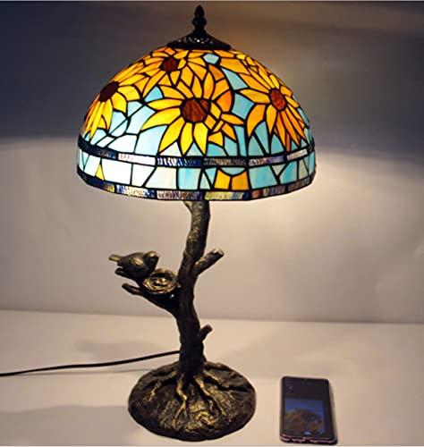 NANXCYR 12inch Tiffany Style Lámparas de Mesa de Girasol iluminación de girasas Lámpara de Vidrio de Manchas Base de Resina Antigua para la Sala de Estar Lámpara de Escritorio de Noche