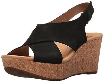 CLARKS Women's Annadel Eirwyn Wedge Sandal, Black Nubuck, 7.5 M US