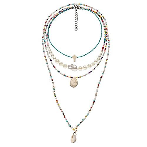 Denluns Juego de 4 piezas de joyería para mujer, elegante conjunto de collar con cadena, diseño de estrella y luna, collar para mujeres y niñas, aleación,