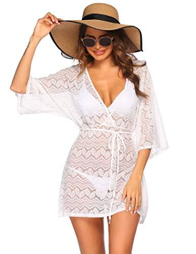 Hotouch Strandkleid für Damen Beach Kleid Schön Strand Shirts Cover Up Badeanzug Weiß S