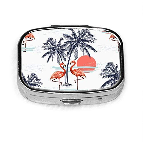 Hermoso patrón tropical sin costuras fondo con flamenco, caja cuadrada plateada para pastillas, soporte para tableta de medicina, estuche organizador para bolsillo o bolso