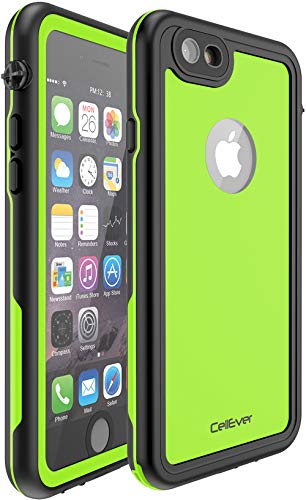 CellEver Compatible with iPhone 6 Plus / 6s Plus Waterproof Case Shockproof IP68 Certified SandProof Snowproof Full Body Protective Cover Designed for iPhone 6 Plus and iPhone 6s Plus KZ C-Lime Green