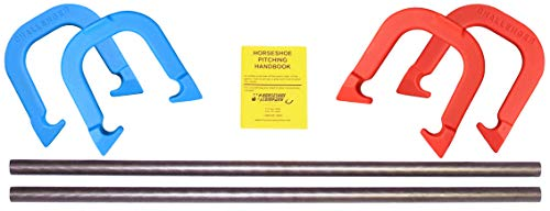Challenger Professional Pitching Horseshoes- Made in The USA (Red & Blue- Complete Game Set (4 Shoes, 2 Stakes & Rule Book))