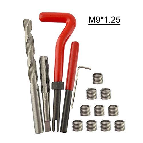 KKmoon Kits de Reparación de Roscas, 15 Piezas Kit de Inserción de Reparación de Rosca Métrica de M3 M4 M7 M9 M11 Helicoil Coche Pro Coil Tool M9 * 1.25