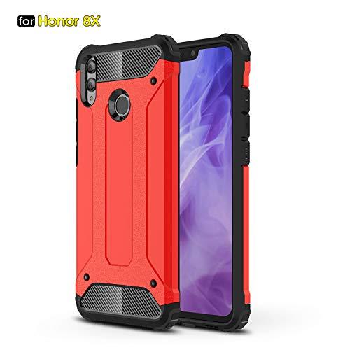 xinyunew Funda Huawei Honor 8X, 360 Grados Protección +Vidrio Templado Protector Pantalla Silicona Caso Cover Case Carcasas TPU + plastico Anti Arañazos de Protectora - Rojo
