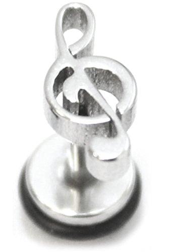 Piercing de acero quirúrgico plateado, diseño de clave de sol, para hombre