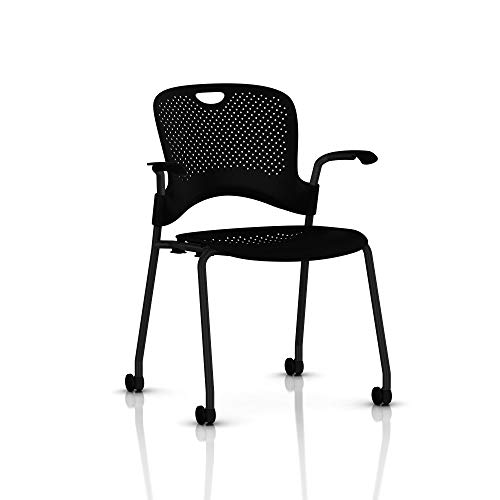 Herman Miller Stackable Caper Chair: Molded Seat- Armless- Standard Carpet Casters (Renewed)
