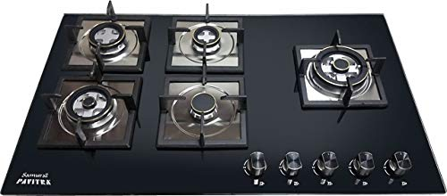 SAMURAI PAVITRA 5 Burner HOB (Auto Ignition) Brass Burner HTGB-500