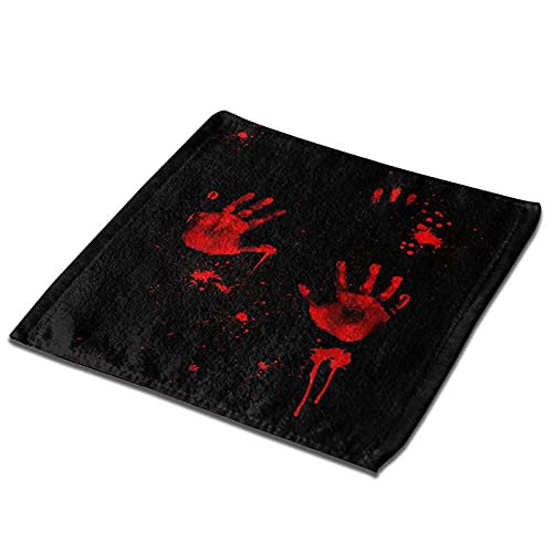 OcuteO Wash Cloths Bloody Handprints Hand Print On Black Kitchen Dish Towels Microfiber Fingertip Tea Towel Single for…