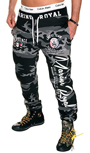 Jaylvis Herren Hose Jogginghose lang Trainingshose Fitnesshose Sweatpants Sport Fitness Camouflage Marine Royal H.512 (6XL, Camou-Weiß)