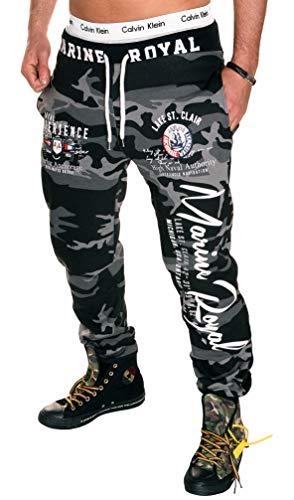 Herren Hose Jogginghose lang Trainingshose Fitnesshose 100% Baumwolle Sweatpants Camouflage Marine Royal H.512 (XS, Camou-Weiß)
