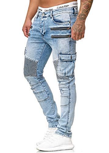 OneRedox Herren Jeans Hose Jeanshose Stretch Blau Freizeithose Denim Slim Fit Modell 5159 33/32