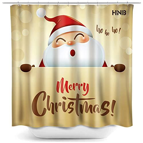 HNB Weihnachtsmann Duschvorhang für Badezimmer Dekoration Weihnachten Thema Badvorhang Set mit 12 Haken 182,9 x 182,9 cm