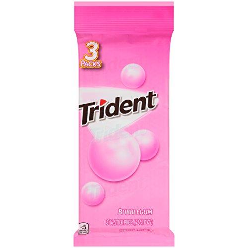 Trident Bubble Gum Sugar Free Gum - 3 Packs (42 Pieces Total)
