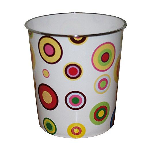 JVL - Papelera (plástico, 25 x 26,5 cm), diseño de círculos