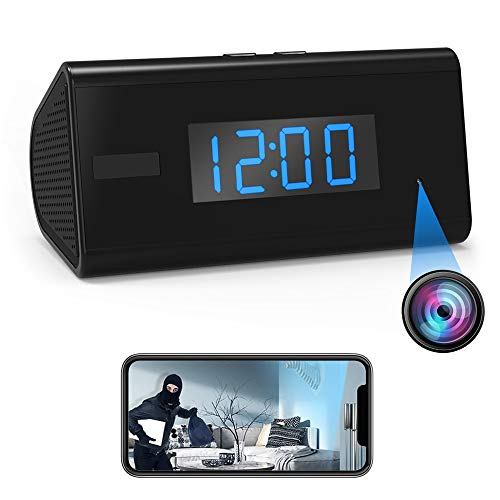 Hidden Camera Spy Camera Clock - Mini Camera Wireless HD WiFi Night Vision PIR Motion Detector Video Recorder Nanny Cam -30 Days Standby - Remotely Real Time View