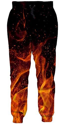 Loveternal 3D Jogginghose Unisex Flamme Graphic Lustige Jogger Jogginghose Coole Sweatpants für Jungen Mädchen S