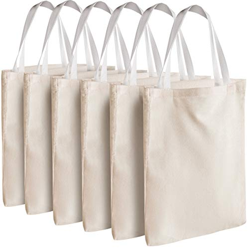 Canvas Tote Bags - Bulk 12 Pack 12.75'x11' Fabric Blank Tote Bags, Natural Cotton for DIY Crafts, Gift Bag and Wedding, Birthday, Promotion Giveaways, or Reusable Grocery Bag by Bedwina