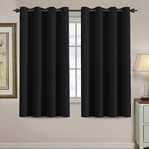 H.VERSAILTEX 100% Blackout Bedroom Curtains Drapes 63 Inch Length Thermal Insulated Full Blackout Window Curtain Panels, Energy Efficient Grommet Top Winter Curtain - Solid in Jet Black (One Panel)